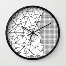 Abstraction Outline Grid on Side White Wall Clock