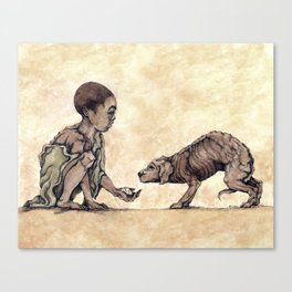 Boy and Puppy Canvas Print