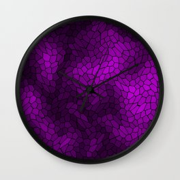 Stained glass texture of snake violet leather with light heat spots. Wall Clock