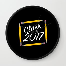 Class of 2017, white font Wall Clock