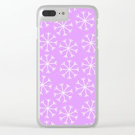 Hand painted modern lilac white Christmas snow flakes Clear iPhone Case