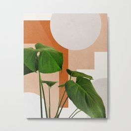 Abstract shapes art, Tropical leaves, Plant, Mid century modern art Metal Print
