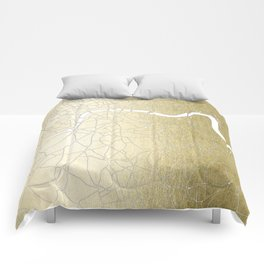 Gold on White London Street Map II Comforters