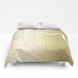 Gold on White London Street Map II Comforters