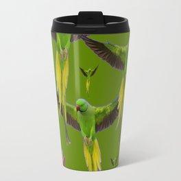 FLOCK OF GREEN FLYING FAIRY BIRDS  & PEACH FLOWERS ART Travel Mug