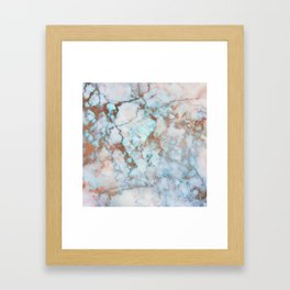 Rose Marble with Rose Gold Veins and Blue-Green Tones Framed Art Print
