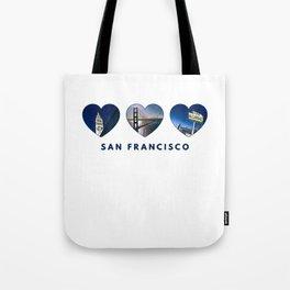 San Francisco Heart (blue) Tote Bag