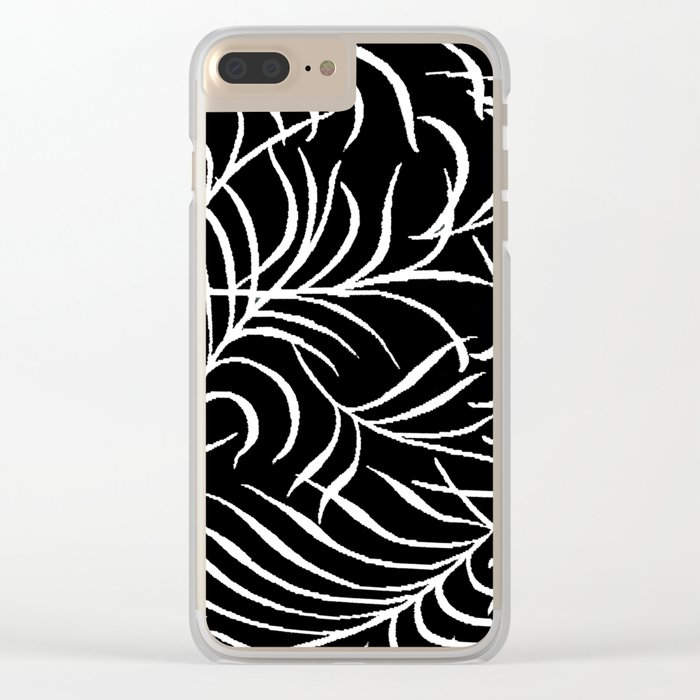 BLACK AND WHITE LEAF PALM Clear iPhone Case