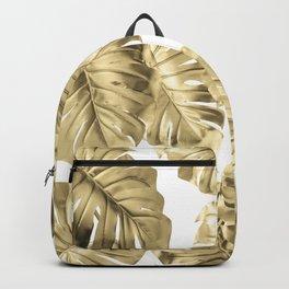 Gold Monstera Leaves on White 2 Backpack