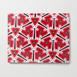 Fidget from the Black & White & Red All Over Collection Metal Print