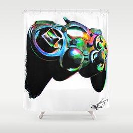 Gamepad fluorescente playstation Shower Curtain