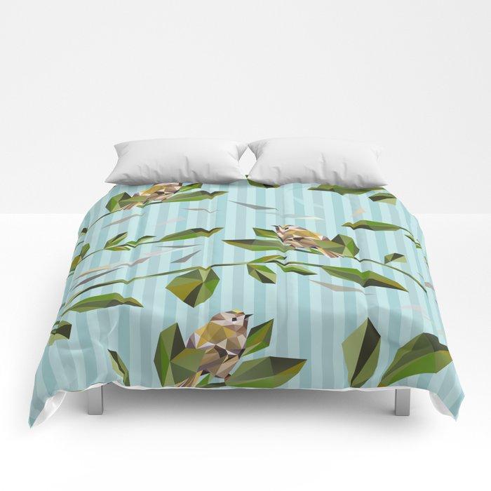 Cute Geometric Goldcrests Pattern Comforters