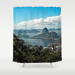 Rio de Janeiro Sugarloaf  Coastline View from Corcovado Mountain, Brazil Shower Curtain