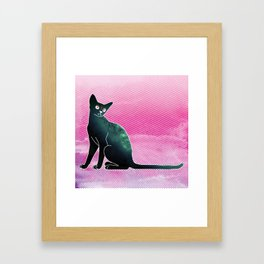 Space cat from hell Framed Art Print