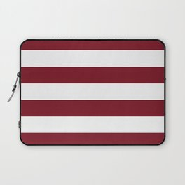 Deep Red Pear and White Wide Horizontal Cabana Tent Stripe Laptop Sleeve