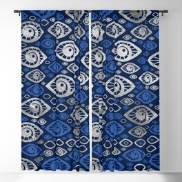 Greek Evil Eye pattern Blues and Silver #1 Blackout Curtain