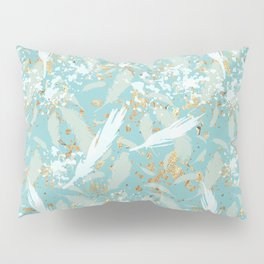Golden Peacock Feather Pattern 04 Pillow Sham