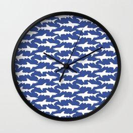 School of Sharks Blue Ocean Wall Clock