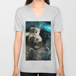 Space Puss saves the World Unisex V-Neck