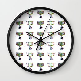 menorah 9,Hanukkah,jewish,jew,judaism,Festival of Lights,Dedication,jerusalem,lampstand,Temple, מְנו Wall Clock