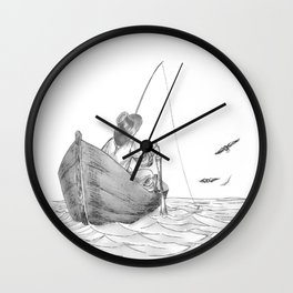 man fishing Wall Clock