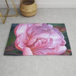 Pink Peony Painting - Wall Art - Home Decor, Art Print,  flower, Floral , peony, flowers, peonies, floral, flower, nature, pink, watercolor, rose, romantic Rug