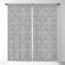 Art Nouveau Flourish Damask Pattern – Neutral Medium Gray Blackout Curtain