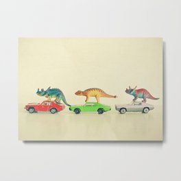 Dinosaurs Ride Cars Metal Print