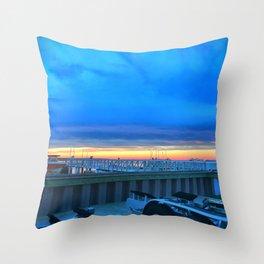 Dockside Dusk in Brigantine Throw Pillow