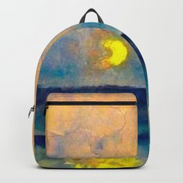 Yellow Moon (Over the Sea) landscape painting by Emil Nolde Backpack