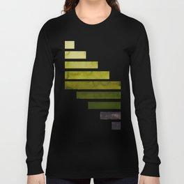 Olive Green Midcentury Modern Minimalist Staggered Stripes Rectangle Geometric Aztec Pattern Waterco Long Sleeve T-shirt