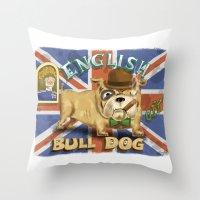 english bulldog Throw Pillows featuring English Bulldog by Brian Raszka Art & Illustration