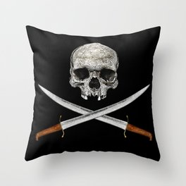 Skull And Crossed Swords Throw Pillow