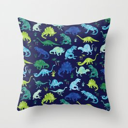 Watercolor Dinosaur Blue Green Dino Pattern Throw Pillow