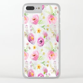 Delicate Poppy Pattern On White Background Clear iPhone Case