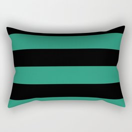 Elf Green and Black Stripes | Horizontal Large Stripes Rectangular Pillow