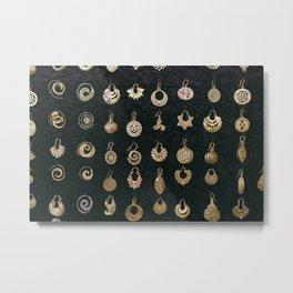 Gold Earrings in Safed Metal Print