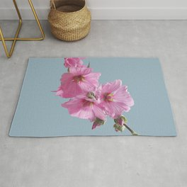 Pink Mallow Flowers Photo to Paint on Blue Rug