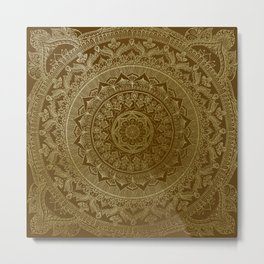 Mandala Royal - Cinnamon & Gold Metal Print