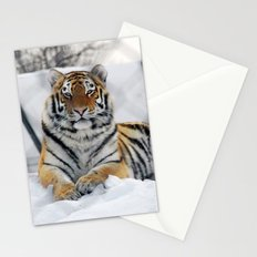 Tiger in snow Stationery Cards