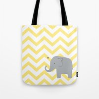 baby elephant Tote Bags featuring Baby Elephant by Janelle Krupa