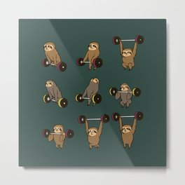 OLYMPIC LIFTING SLOTHS Metal Print