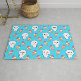 Cute happy playful cuddly funny baby kittens, sweet adorable yummy colorful Kawaii rainbow ice cream popsicles cartoon summer pastel baby blue pattern design. Rug
