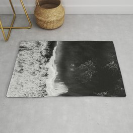 Surfer girls from above in Ericeira Portugal | Ocean wanderlust photography black and white print Rug
