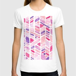 Pink Geometric Hand-painted Pattern T-shirt