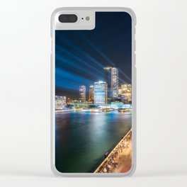 Sydney Skyline dressed in deep blue tones Clear iPhone Case
