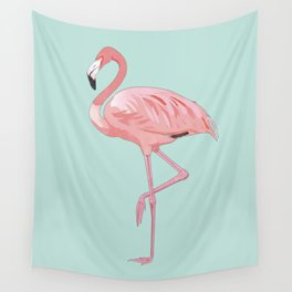 Flamingo, Pink Flamingo, Aqua Wall Tapestry