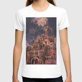 Shangai Cartoon Castle Artistic Illustration Firework Style T-shirt