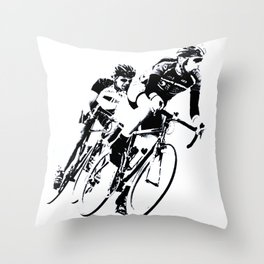 Bicycle racers into the curve... Throw Pillow