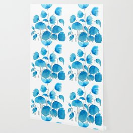 blue poppy field watercolor Wallpaper